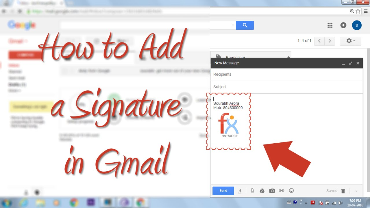 How to Add a Signature in Gmail ( Hindi Tutorial ) gmail - YouTube