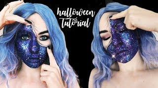 Glitter Galaxy Pulled Up Skin Halloween Makeup Tutorial