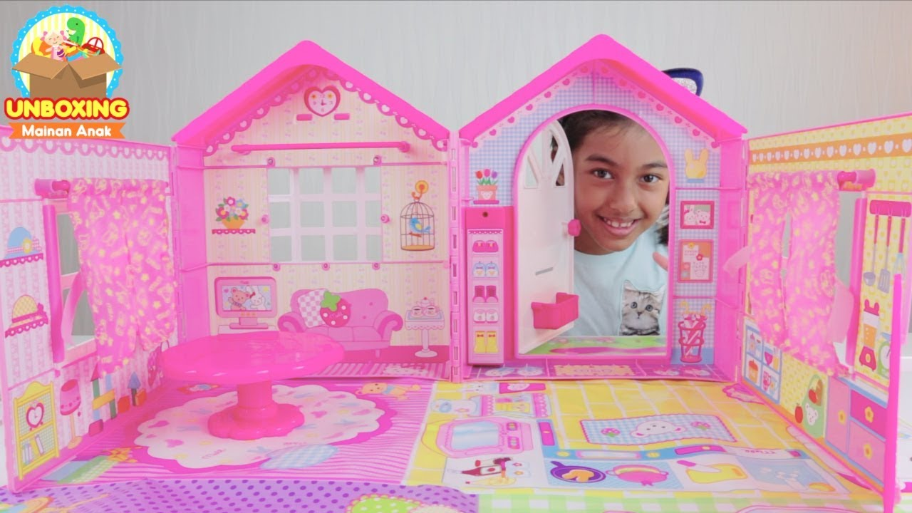 Unboxing Rumah Boneka Mell Chan Super Besar   Super Cute! Mell Chan Doll  House Mainan Anak Perempuan d5c8b884c0