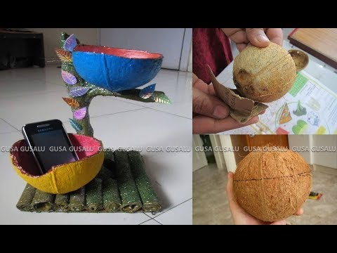Diy coconut shell art best out of waste from coconut for Craft ideas out of waste