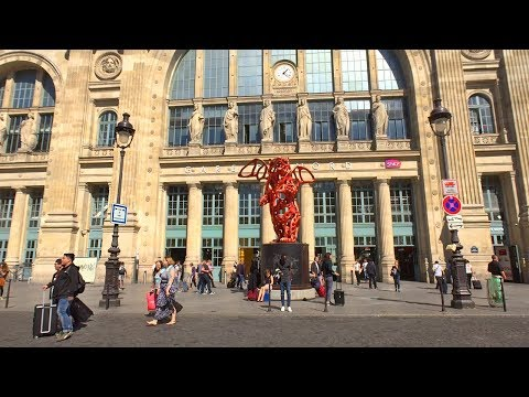 Walking Paris's Streets by Gare du Nord Train Station - France