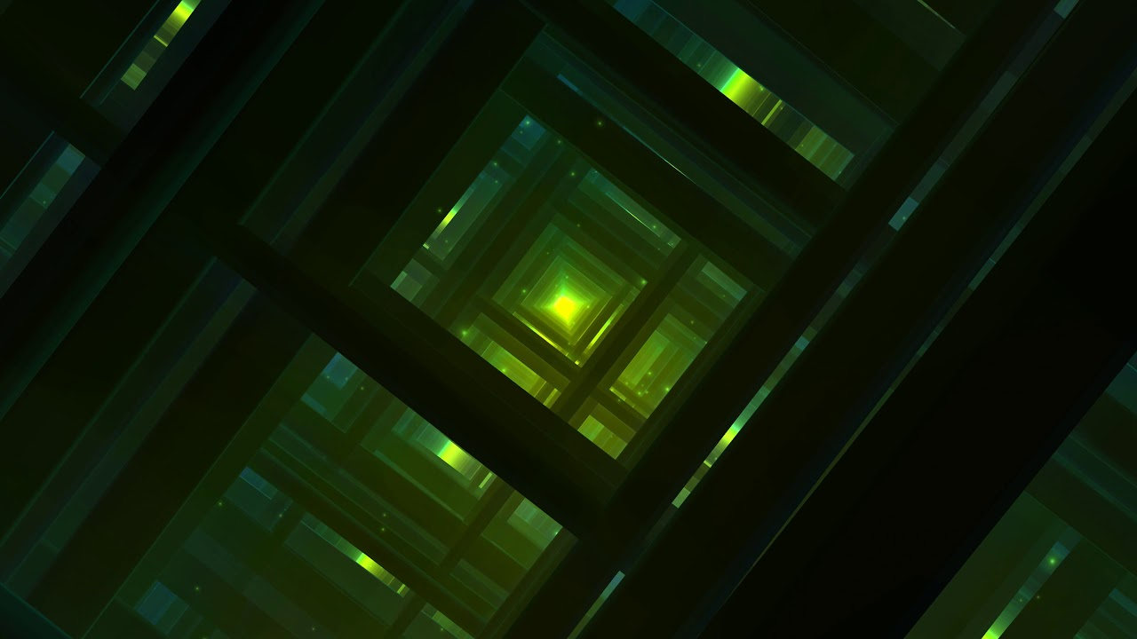 4K Cinematic Background Effect Green Tunnel Grid Tour AA