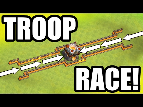 EPIC TROOP RACE TROLL BASE! - Clash Of Clans - MAX LEVEL FIGHT!!
