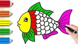 Como desenhar peixes e páginas para colorir para crianças - Vídeos de aprendizagem para crianças