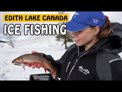 ICE FISHING FOR BROOK TROUT AND RAINBOW TROUT AT EDITH LAKE KAMLOOPS BC | Fishing With Rod