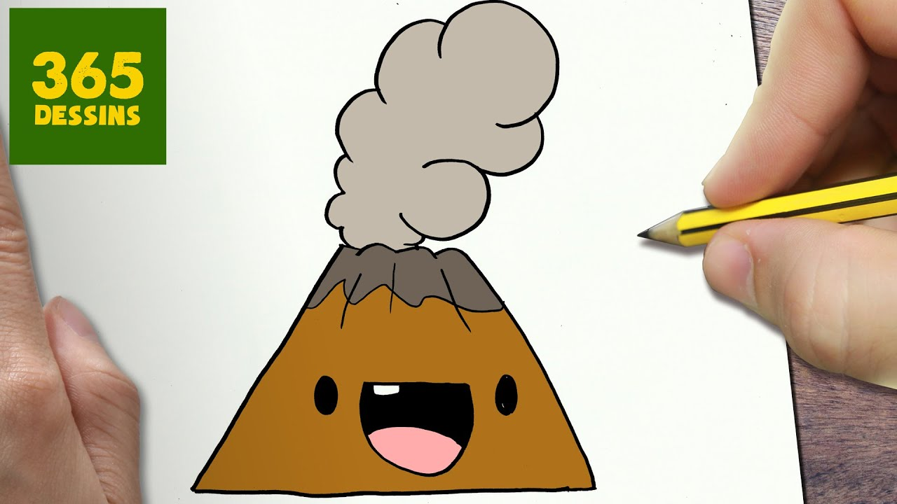 Comment Dessiner Volcan Kawaii étape Par étape Dessins Kawaii Facile