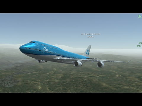 Flight Simulators broadcast.  KLM Airlines Boeing 747-400/Takeoff From Palm Springs IntI Airport.