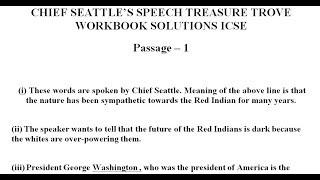 Chief Seattle's Speech Treasure Trove Short Stories Workbook Answers ICSE