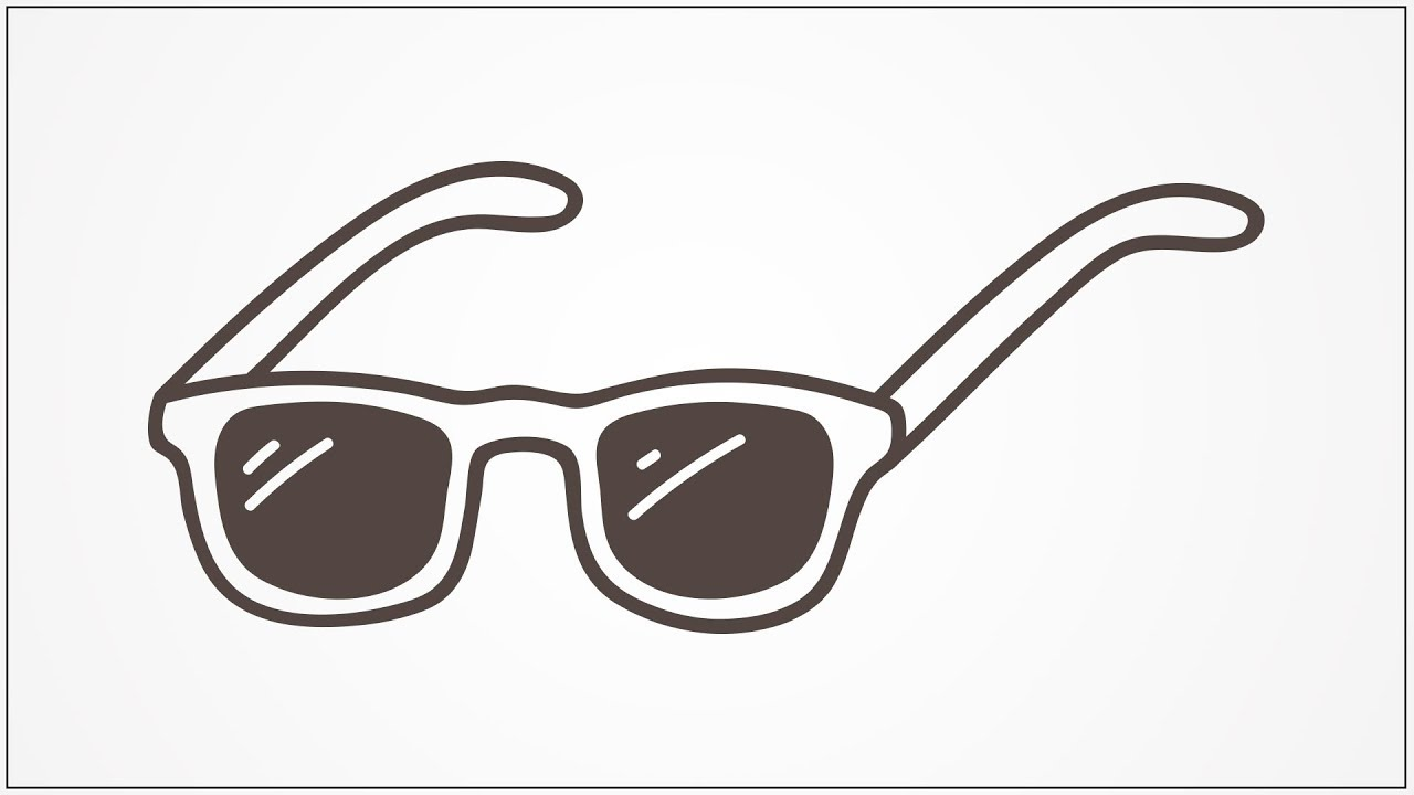how to draw sun glasses step by step for kids