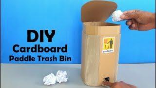 How to Make Cardboard Paddle Trash Bin DIY at Home - Dustbin Making at Home