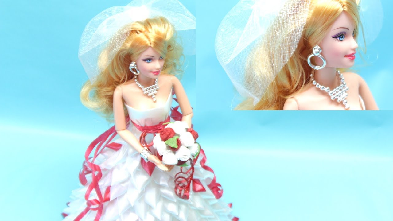 How to Make Beautiful Wedding Dress for a Barbie Doll Super Easy ...