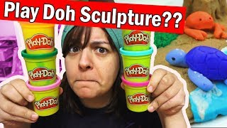 PLAY DOH SCULPTURE CHALLENGE! Trying to use Play Doh like Polymer Clay DIY Art Craft