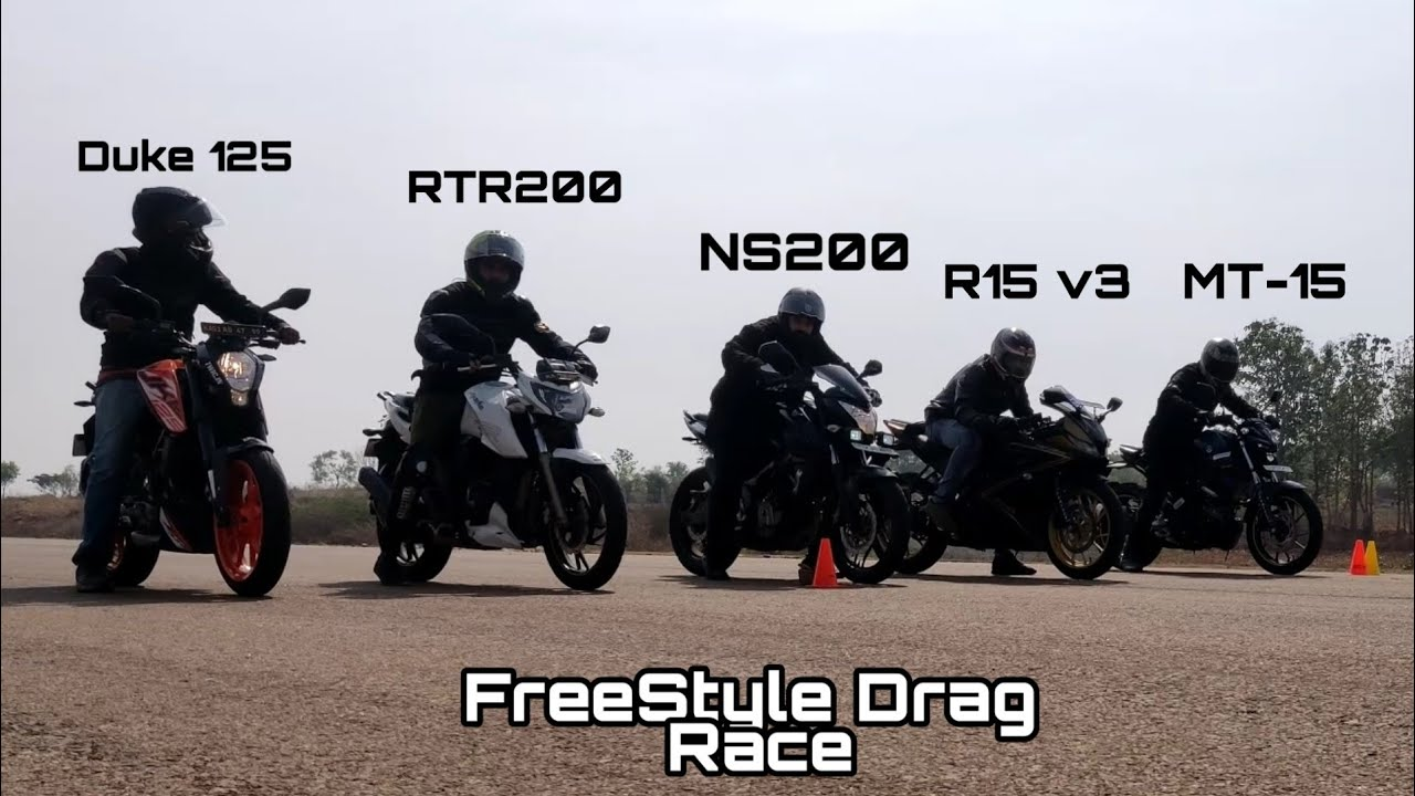 Download R15 v3 vs MT-15 vs NS200 vs Duke 125 vs Apache RTR200 | FreeStyle 250m Drag Race