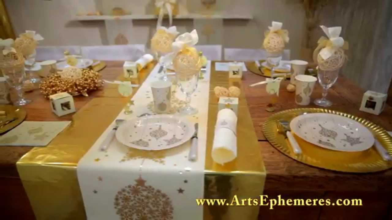D coration de table de noel or arts eph m res youtube - Deco table de noel blanc ...