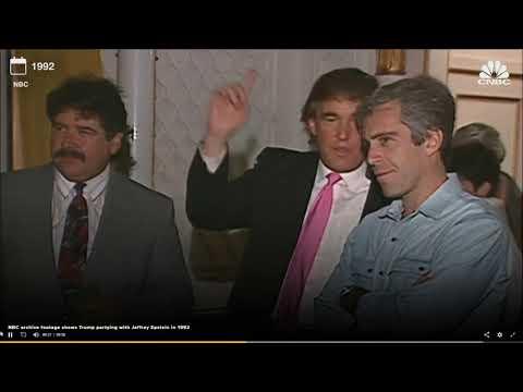 Trump und Epstein schauen sich gemeinsam junge Maedchen an.