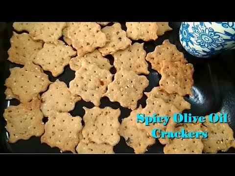 Spicy Olive Oil Crackers |Low Fat Spicy Crackers