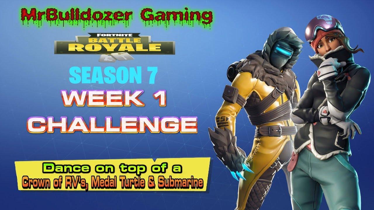 Fortnite Season 7 Week 1 Challenge Dance On Top Of A Crown Of Rv S A