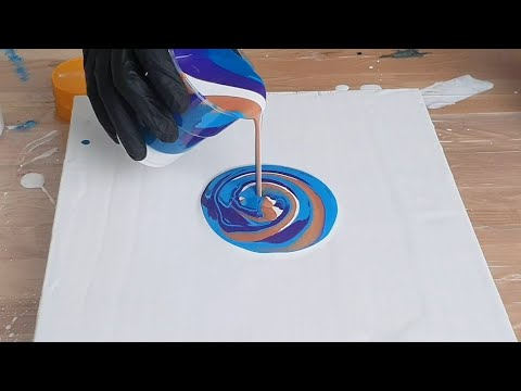 Acrylic Pouring  - Wrecked Ring Pour - Fluid painting Swirly lines