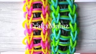 Repeat youtube video Pulsera De Gomitas Modelo Escalera // How to make the rainbow loom bracelet: Ladder