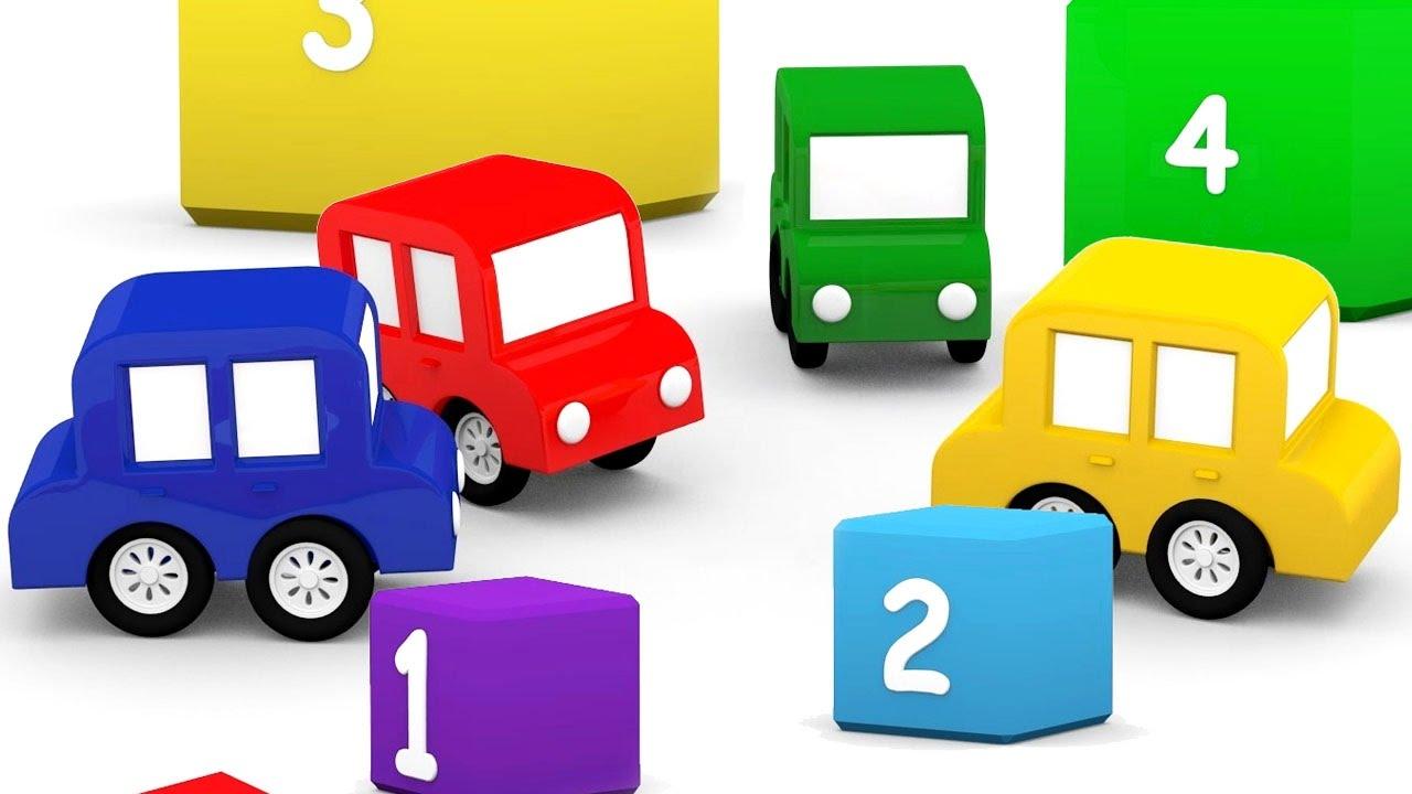 Cartoni animati per bambini macchinine colorate giocano a