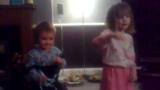 jess and callum doing superman party dance