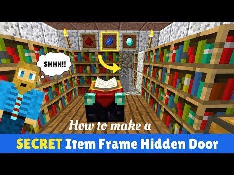 Minecraft Item Frame Secret Door Tutorial! Using An Item Frame As Lever Or Button [Java]