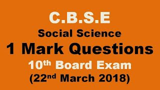 1 Mark Questions for Social Science Board Exam. To give you the ide...