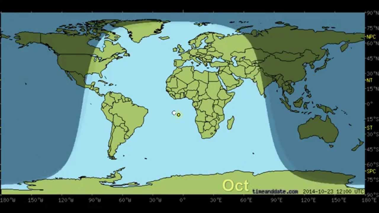 Day and Night World Earth Map with Sun and Moon position