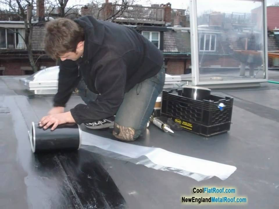 Rubber Roof Repair Reseaming With Epdm Cover Tape Flashing Youtube
