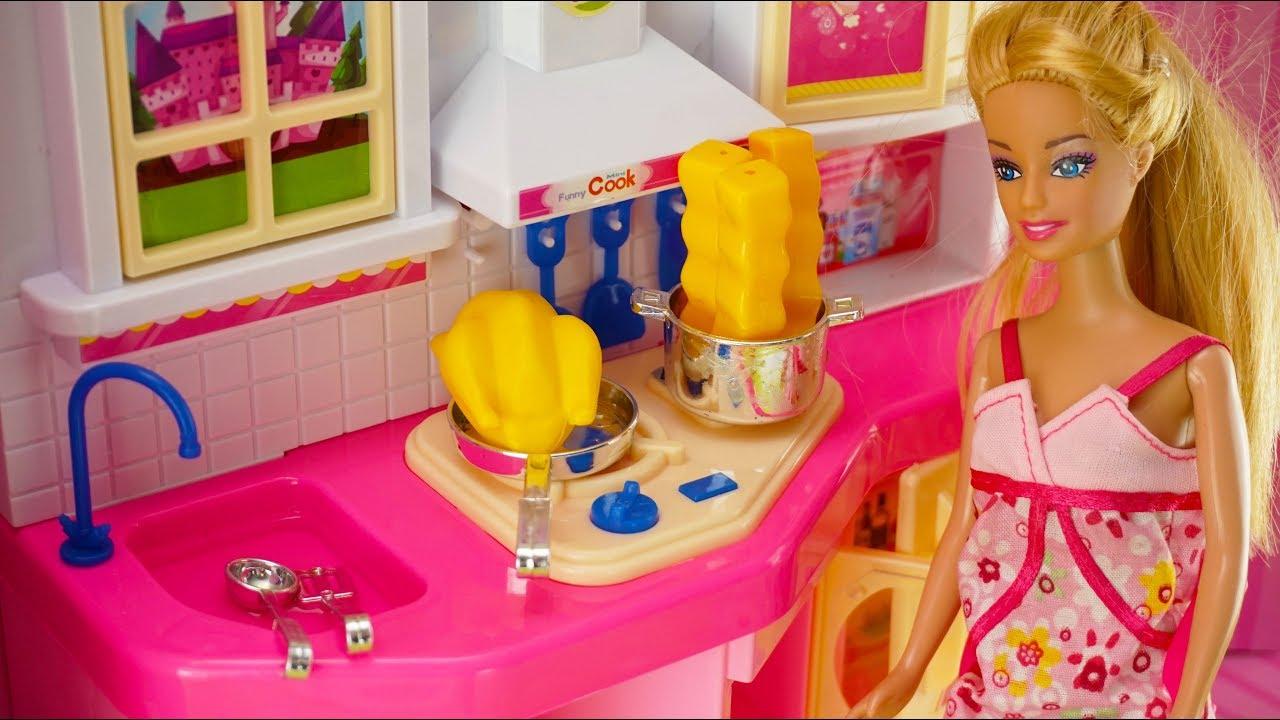 Mainan Anak Perempuan Boneka Barbie Mainan Mainan Dapur Barbie Masak Kitchen Toy Barbie Kitchen Youtube