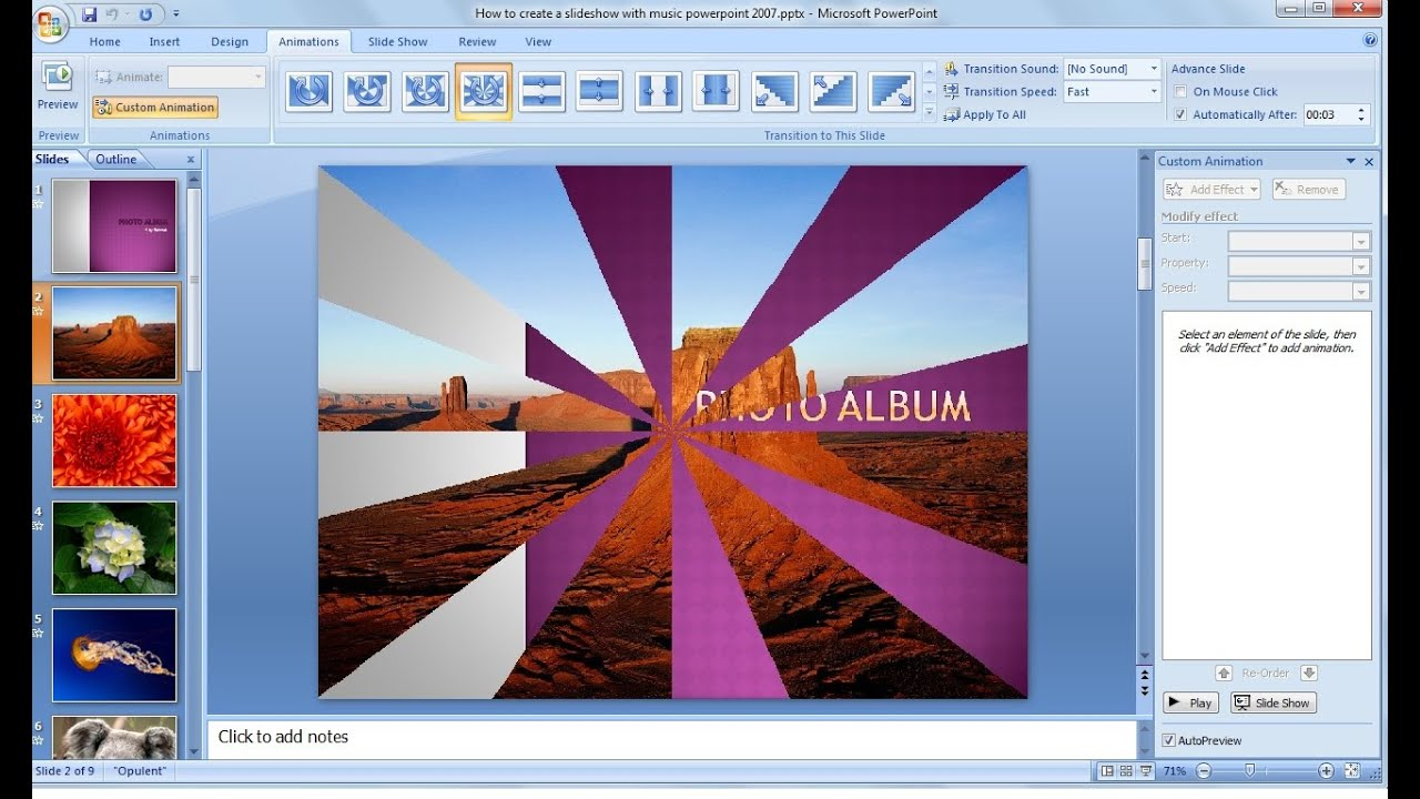Powerpoint Training How To Make A Picture Slideshow In Powerpoint 2007  With Music