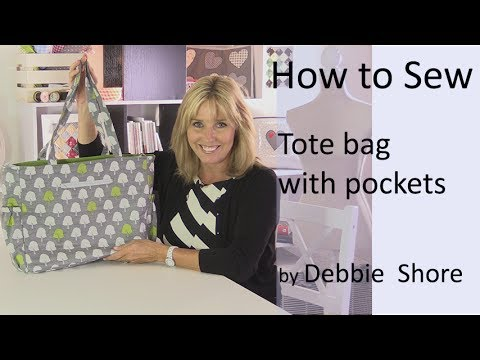 Sewing a tote bag with pockets by Debbie Shore