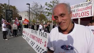Les ouvriers Ford Blanquefort manifestent devant le salon de l'auto (12 octobre 2018, Paris)