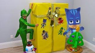 Gekko Gets New PJ MASKS TOYS inside Giant Christmas Present!