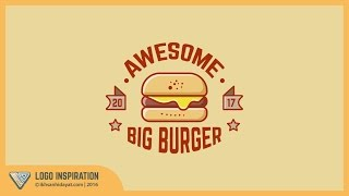 LOGO INSPIRATION | Burger Badge Logo Tutorial