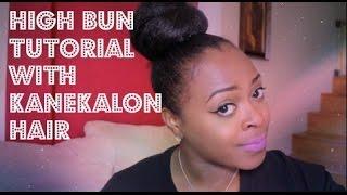 high bun tutorial w outre kanekalon jumbo braid