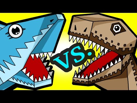 "MINECRAFT SHARK VS. DINO! ""My Cute Shark Attack Cartoon #39 (+BEST OF!) kids cartoon!"