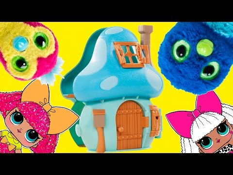 LOL Surprise Baby Dolls Play Smurfs Village Game - Spin the Wheel with Hatchimals, Smurfs and Ellie