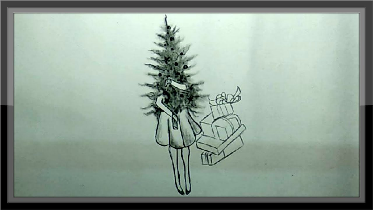 Christmas Tree Drawing Images Pencil Drawing Easy