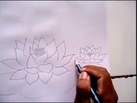 Cara Mudah Menggambar Bunga Teratai Youtube