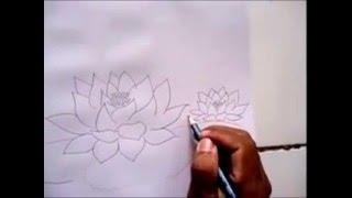 Cara Mudah Menggambar Bunga Teratai