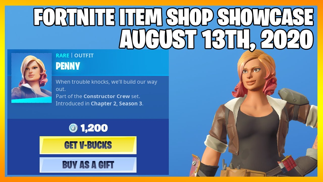 Fortnite Item Shop *NEW* PENNY SKIN! [August 13th, 2020] (Fortnite Battle Royale)