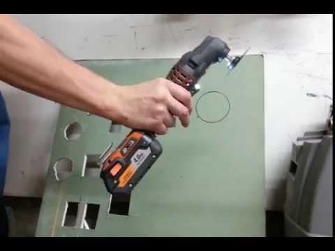 Ridgid 18 volt JobMax tool cutting drywall