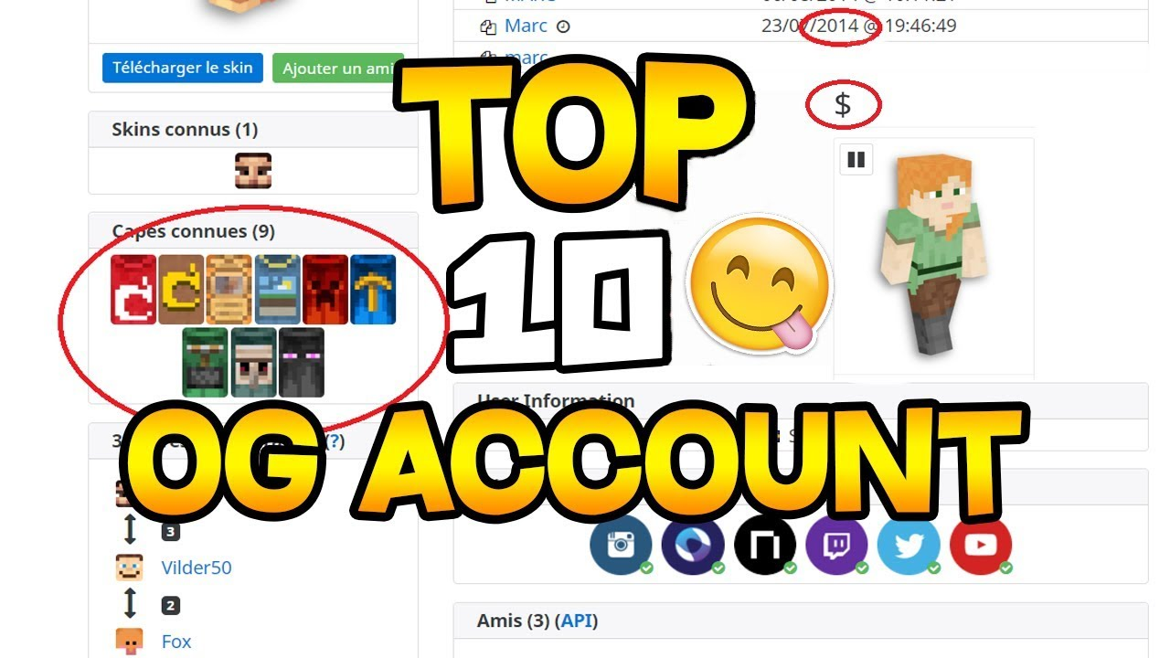 TOP OGRAREST MINECRAFT ACCOUNT YouTube - Minecraft profile namemc
