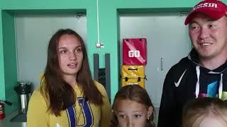 Тренер Евгений Дашиев и его ученицы Анастасия Азарова, Арина Тученкова, Маргарита Куракина.