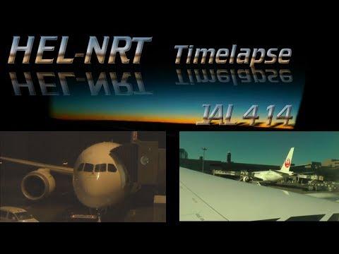 JAL414 Helsinki to Tokyo full flight 787 timelapse atc 日本航空 すべてのフライト タイムラプス 機内食