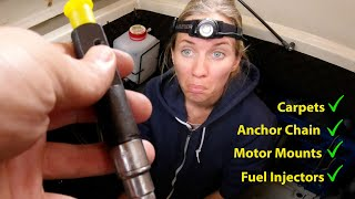 BOAT WORK - Replacing our Fuel Injection, Motor Mounts, Anchor Chain! - Sailing Vessel Delos Ep. 311