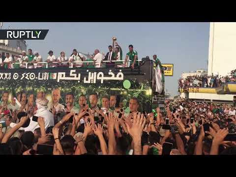 استقبال جماهيري حافل لأبطال المنتخب الجزائري بعد عودته متوجا بالكأس الإفريقية  - 06:53-2019 / 7 / 21