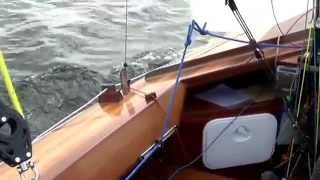 Classic wooden day sailing yacht