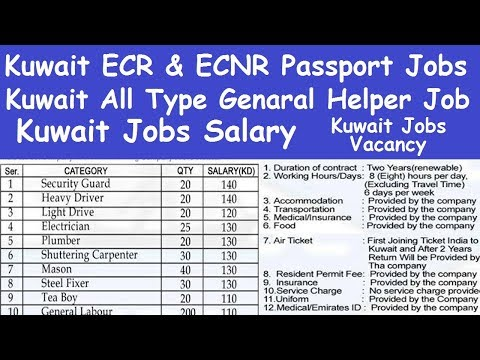 Kuwait ECR and ECNR Passport Job l Kuwait All Type Genaral Helper